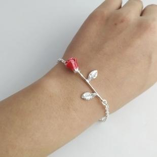 armband roosje zilver